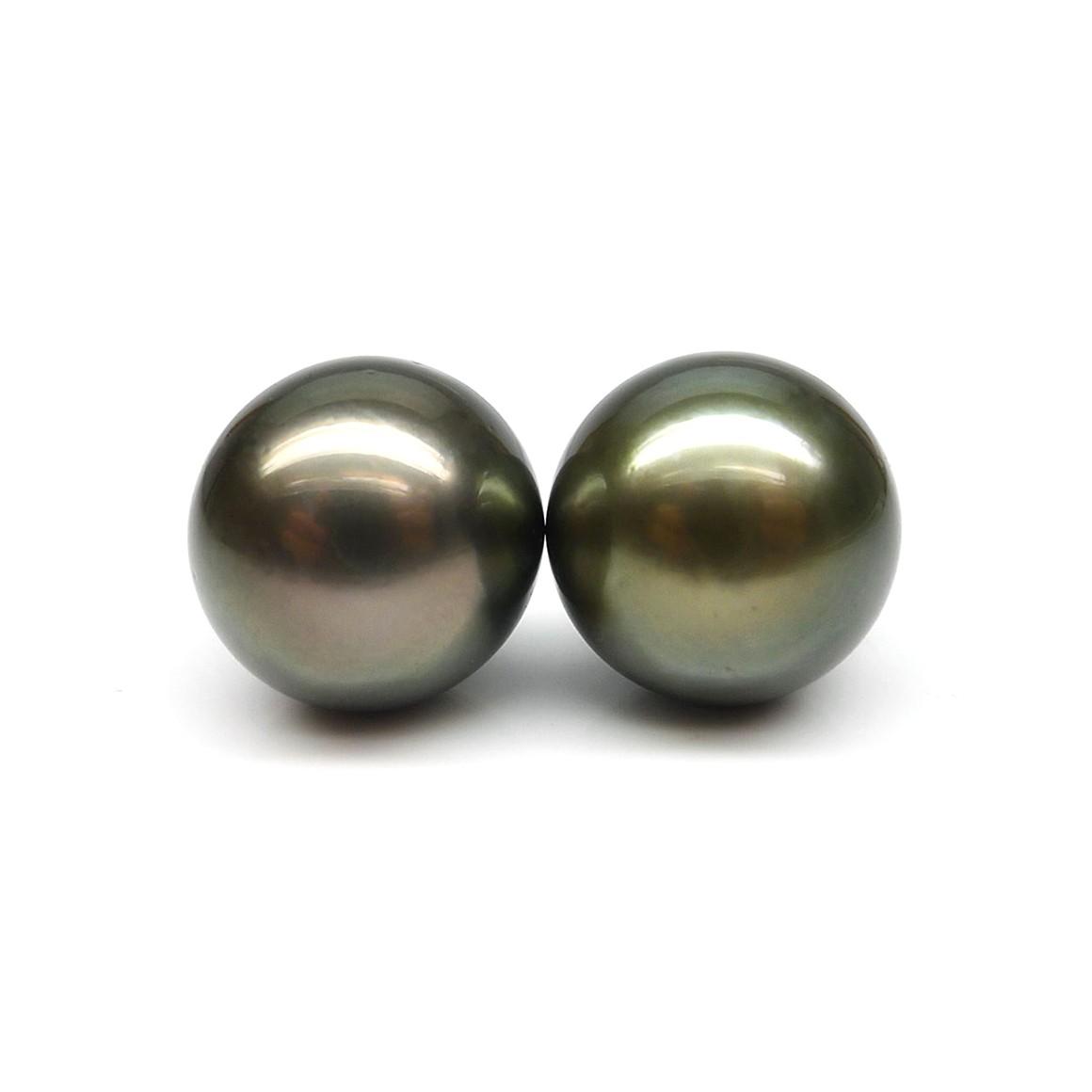 9.18 & 9.19 Carat Tahitian Loose Dark Grey Pearls (Moti) Pair