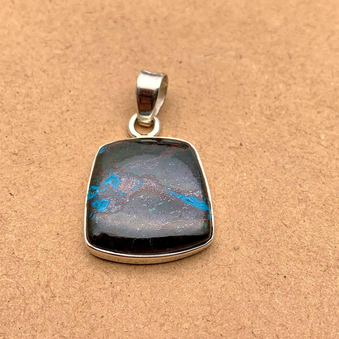 Natural Azurite Sterling Silver Pendant