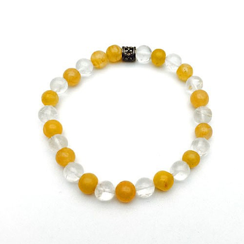 Natural Carnelian & Crystal Bracelet