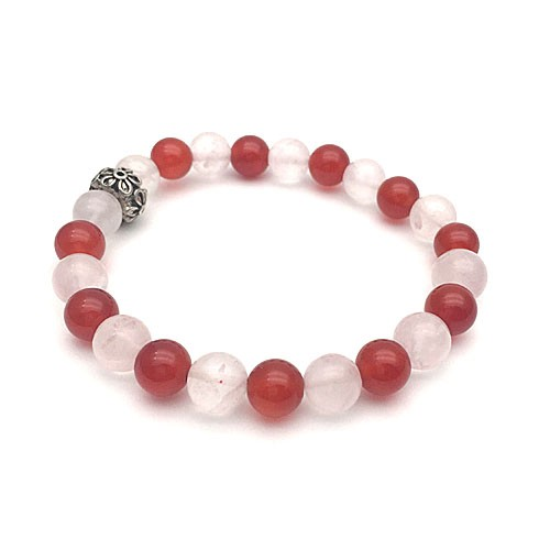 Natural Carnelian & Rose Quartz Bracelet