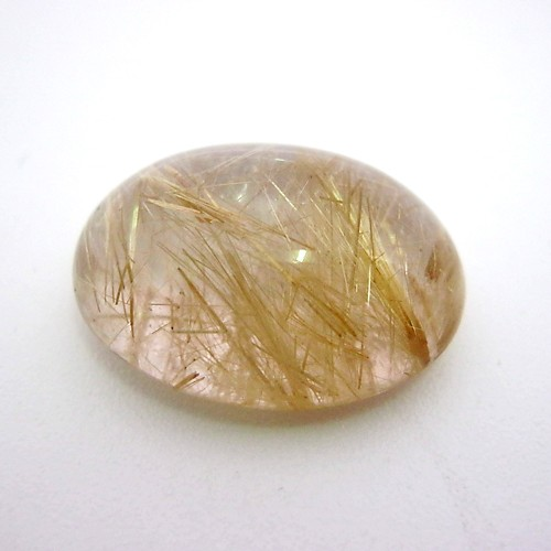 19.52 Carat Oval Cabochon Natural Rutilated quartz Gemstone