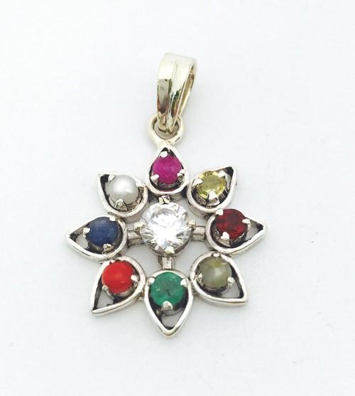 Navratna Gemstone Pendant in Silver