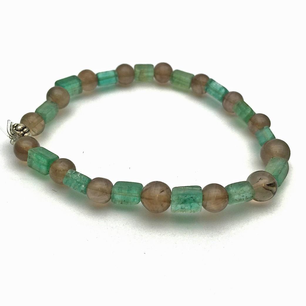 Smoky Quartz and Fluorite Gemstone Bracelet