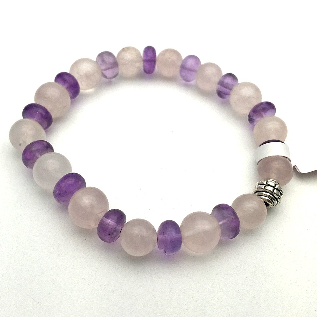 Amethyst & Rose Quartz Gemstone Bracelet