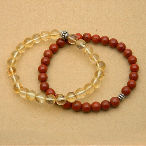 Natural Jasper and Citrine Bracelet