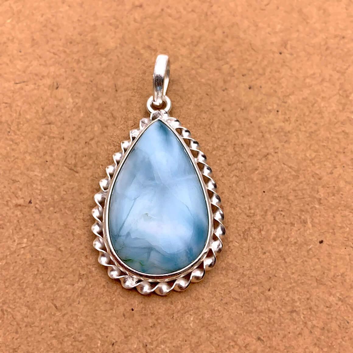 Natural Larimar Sterling Silver Pendant
