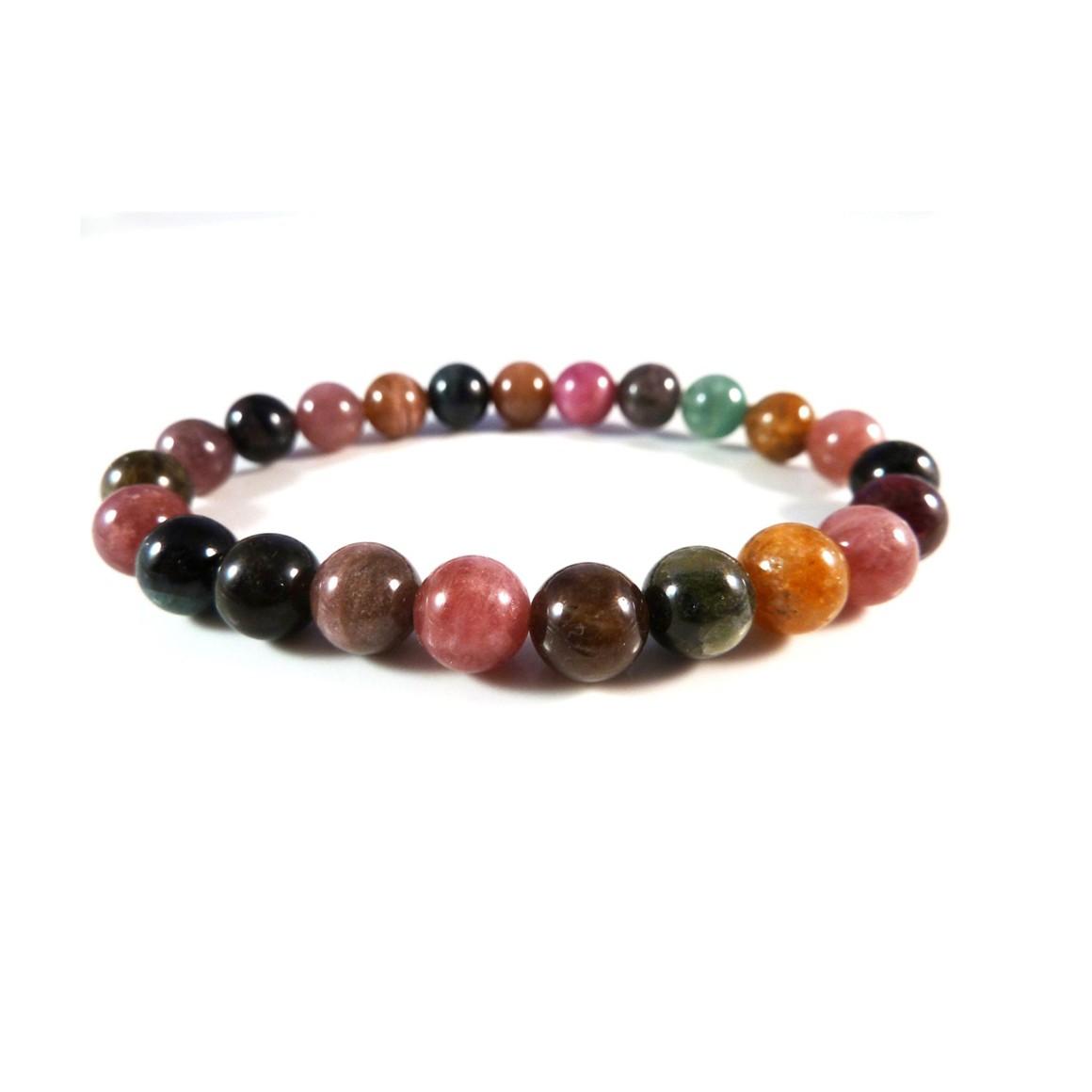 Natural Multicolor Tourmaline Beads Bracelet
