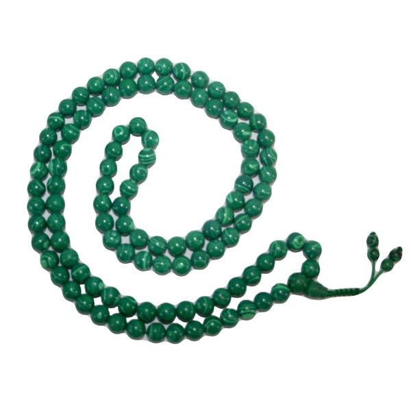 Natural Malachite Stone Beads String Mala