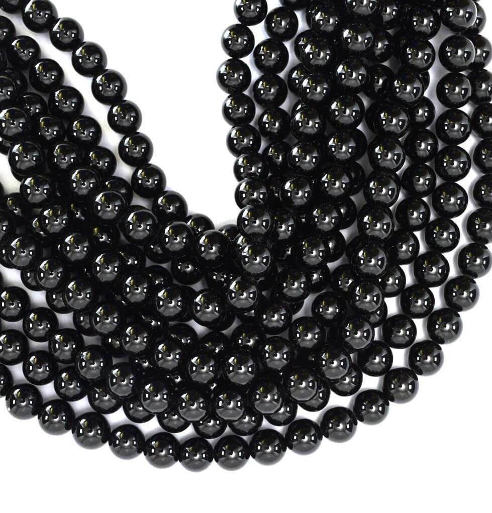 Natural Black Tourmaline AAA Quality Gemstone Beads String