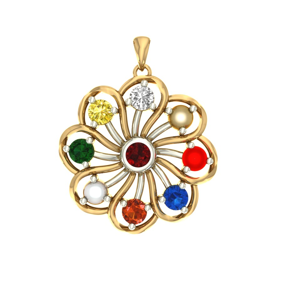 Navratna Gemstone  Pendant  in Gold