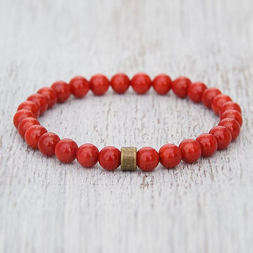 ef9664ecb4377 Natural Red Coral Moonga Beads Bracelet