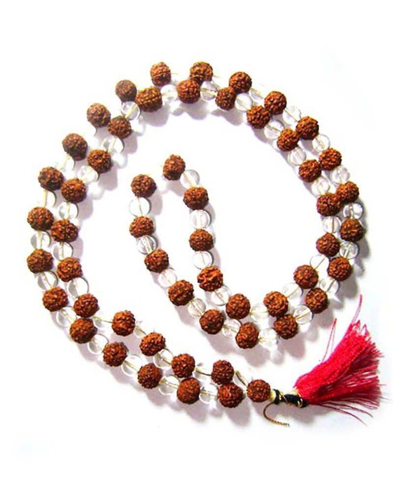 108 Beads Natural Rudraksah and Rock Crystal (Sphatik)  Mala String