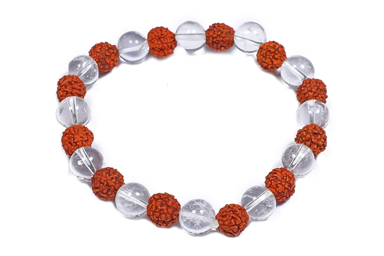 Natural Rudraksha & Rock Crystal Gemstone Bracelet