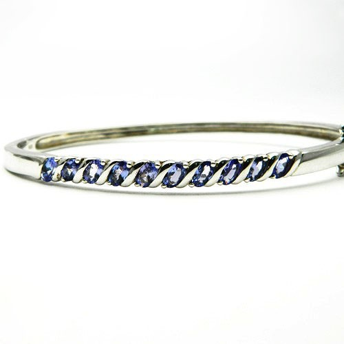 Natural Tanzanite Silver Bracelet