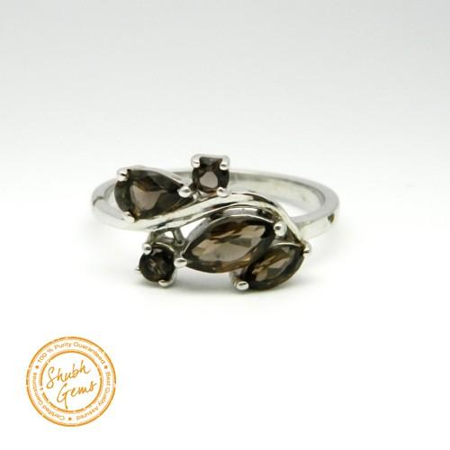 Smoky quartz Silver Ring