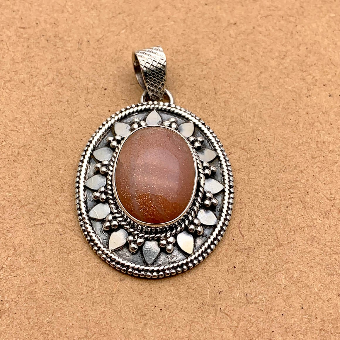 Natural Sunstone Sterling Silver Pendant