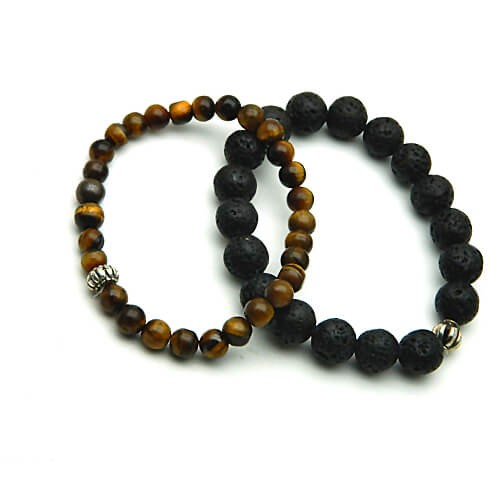 Natural Tiger Eye and Lava Bracelet