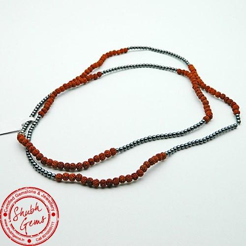 Rudraksha & Hematite Gemstone Bracelet
