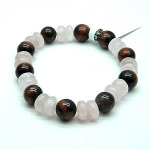 Red Tiger Eye & Rose Quartz Gemstone Bracelet