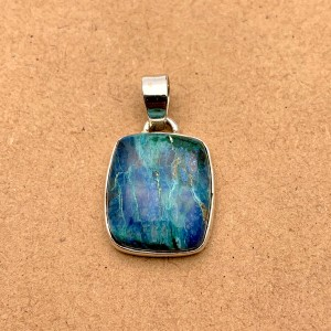 Natural Azurite Sterling Silver Pendant