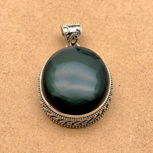 Natural Black Obsidian Sterling Silver Pendant