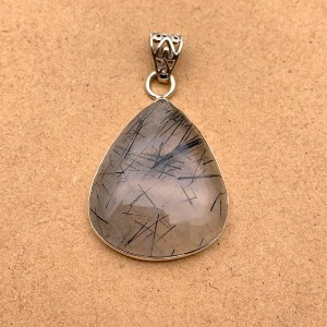Natural Black Rutilated Quartz Sterling Silver Pendant