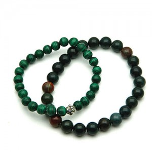 Natural Blood Stone & Malachite Bracelet