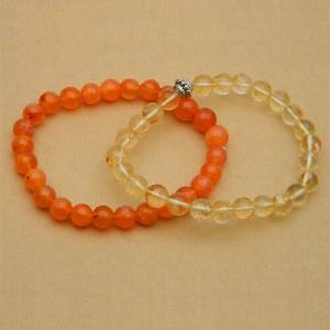 Natural Carnelian and Citrine Bracelet