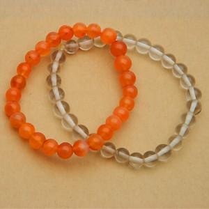 Natural Carnelian and Rock Crystal Bracelet