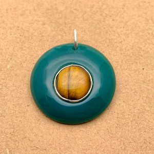 Natural Chalcedony & Tiger Eye Sterling Silver Pendant