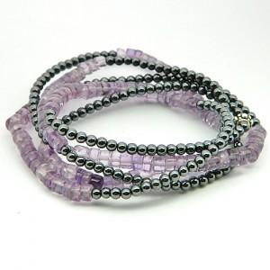 Amethyst Hematite Gemstone Bracelet