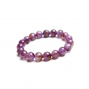 Natural Golden Rutilated Amethyst Beads Bracelet