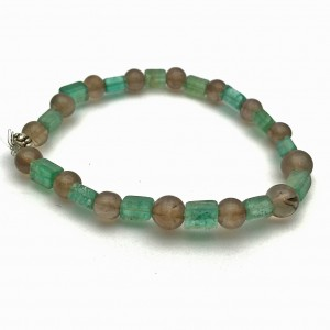 Smoky Quartz and Fluorite Gemstone Bracelet
