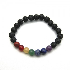 Natural Lava Chakra Gemstone Bracelet