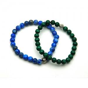 Natural Malachite and Lapis Bracelet