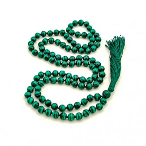 Natural Malachite Stone Beads String Mala (24 Inch)