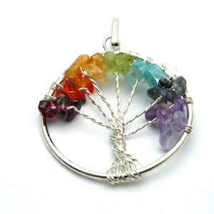 Natural 7 Chakra Gemstone Tree Pendant