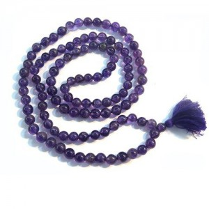 Natural Amethyst Beads String Mala (24 Inch)