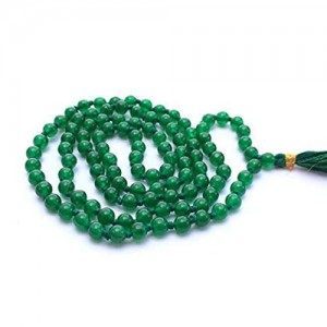 Natural Green Jade Stone Beads String Mala (24 Inch)