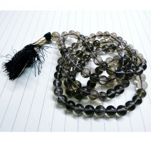 Natural Smoky Quartz Stone Beads String Mala