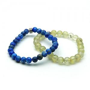Natural Prehnite and Lapis Bracelet