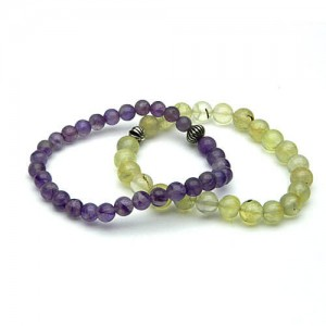 Natural Prehnite and Amethyst Bracelet