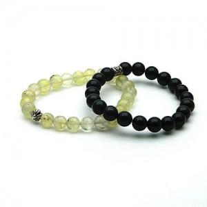 Natural Prehnite and Black Agate Bracelet