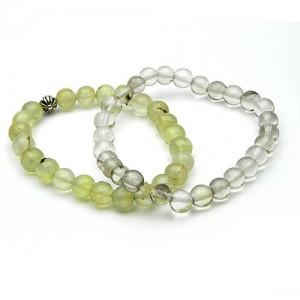 Natural Prehnite and Rock Crystal Bracelet