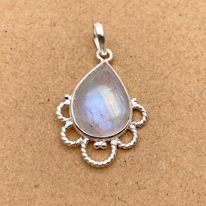 Natural Rainbow Moonstone Sterling Silver Pendant
