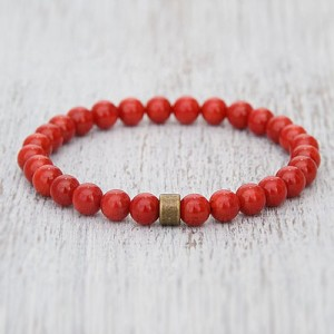 Natural Red Coral Moonga Beads Bracelet