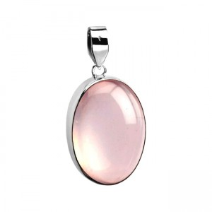 Natural Rose Quartz Silver Pendant