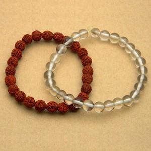 Natural Rudraksha and Rock Crystal Bracelet