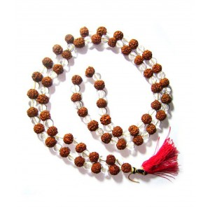 108 Beads Natural Rudraksha & Rock Crystal (Sphatik)  Mala String