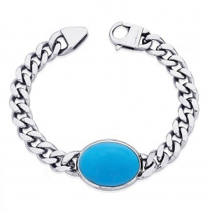 Natural Turquoise (Firoza) Bracelet in Silver